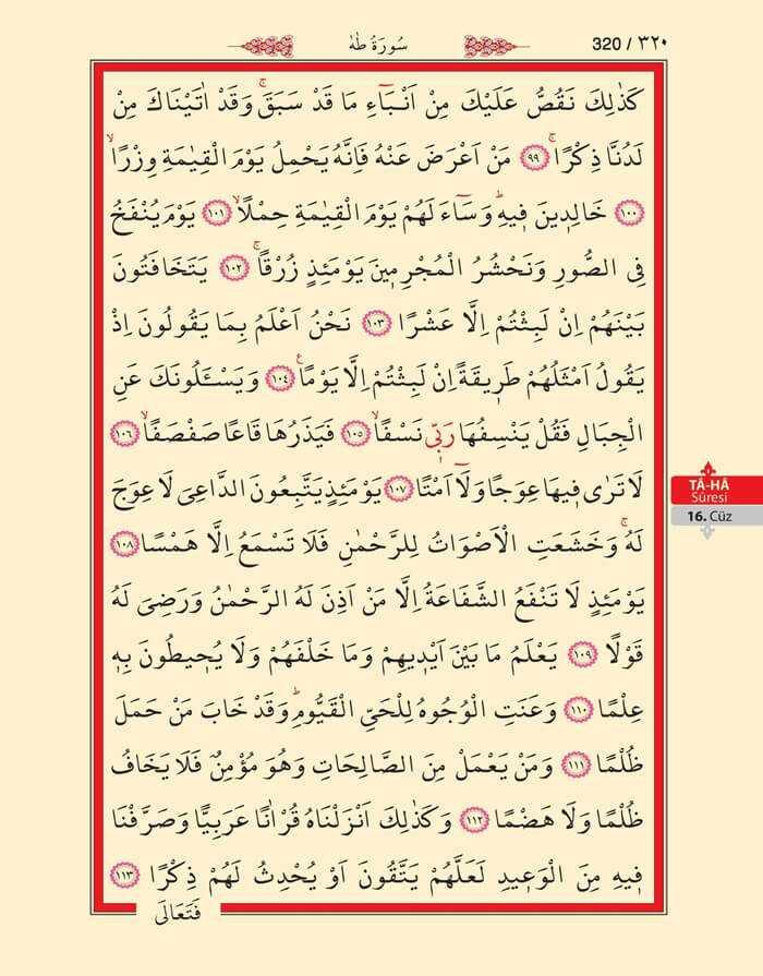 Taha Suresi - 318.Sayfa - 16. Cüzün 4. Hizbi