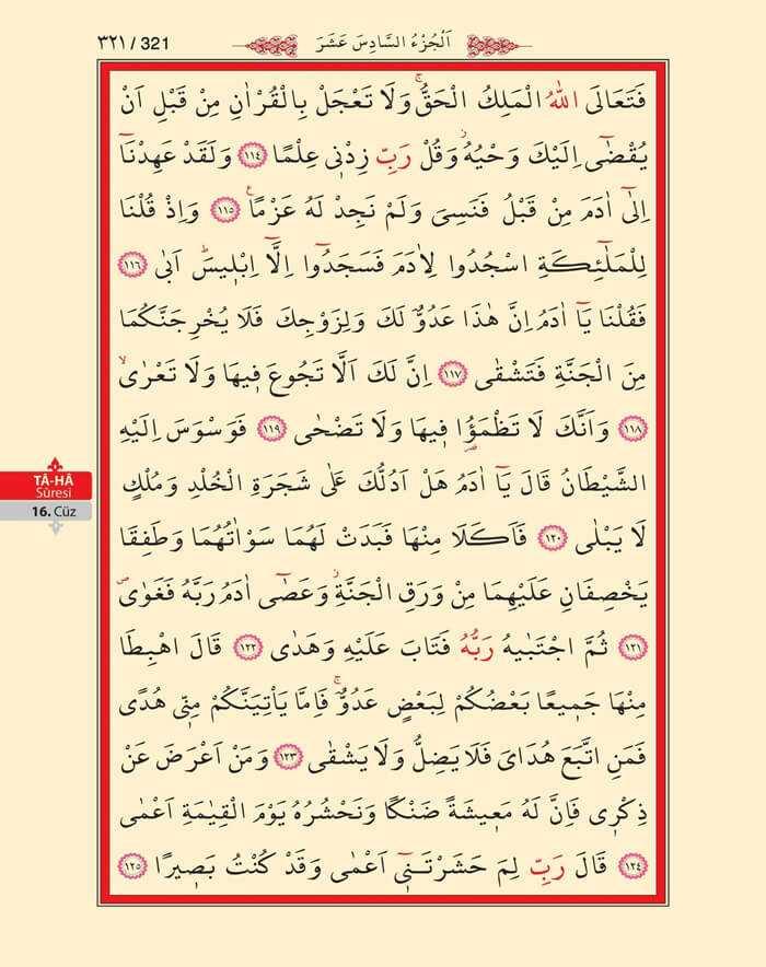 Taha Suresi - 319.Sayfa - 16. Cüzün 4. Hizbi