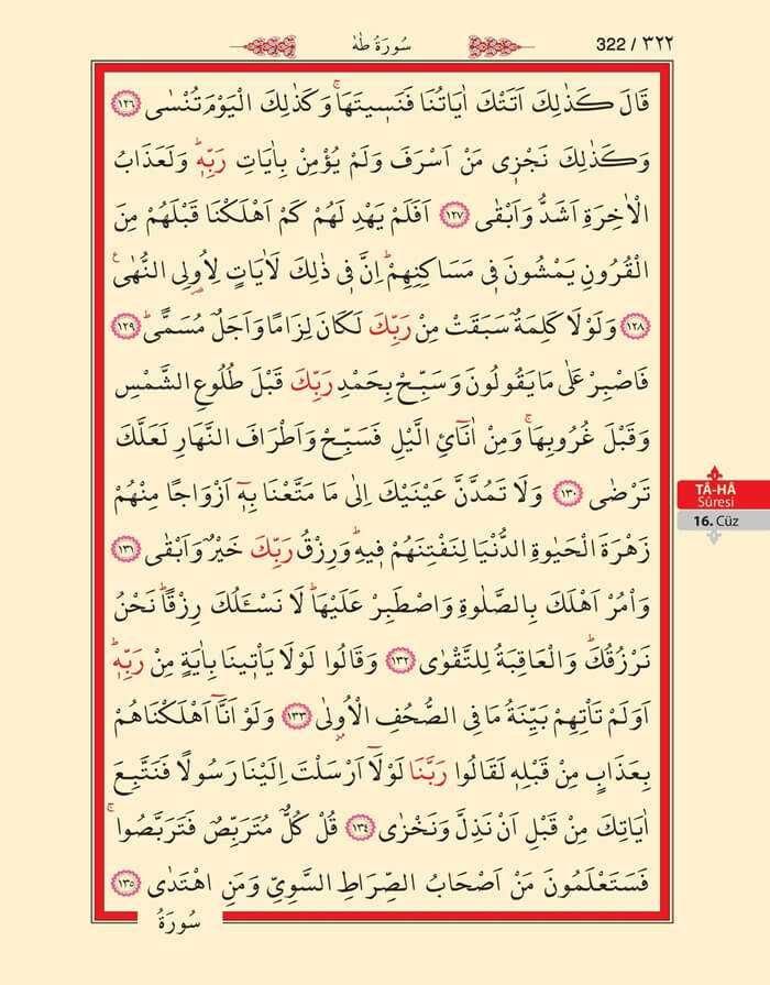 Taha Suresi - 320.Sayfa - 16. Cüzün 4. Hizbi