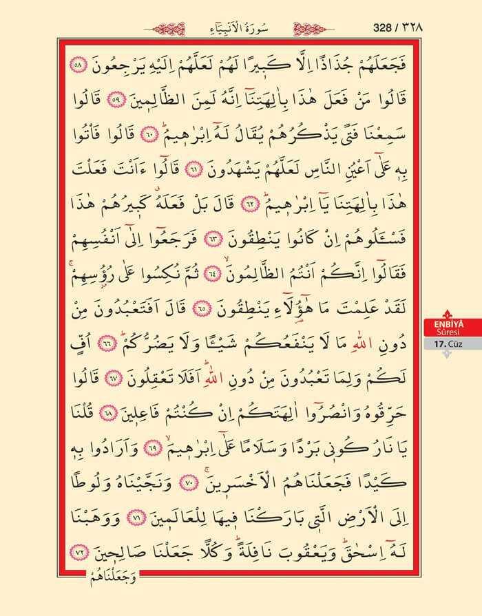 Enbiya Suresi - 326.Sayfa - 17. Cüzün 2. Hizbi