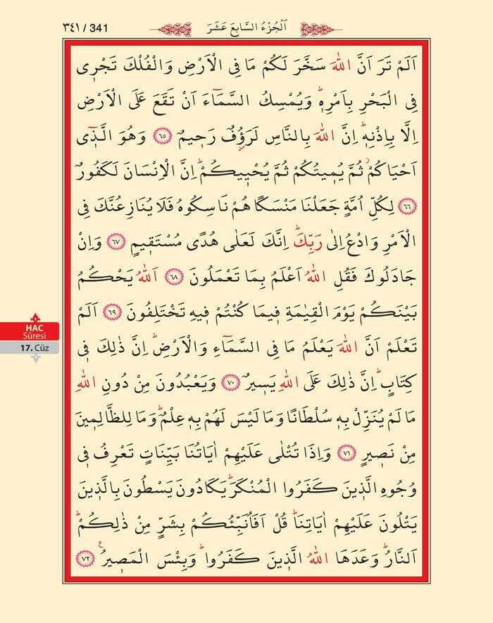 Hac Suresi - 339.Sayfa - 17. Cüzün 4. Hizbi