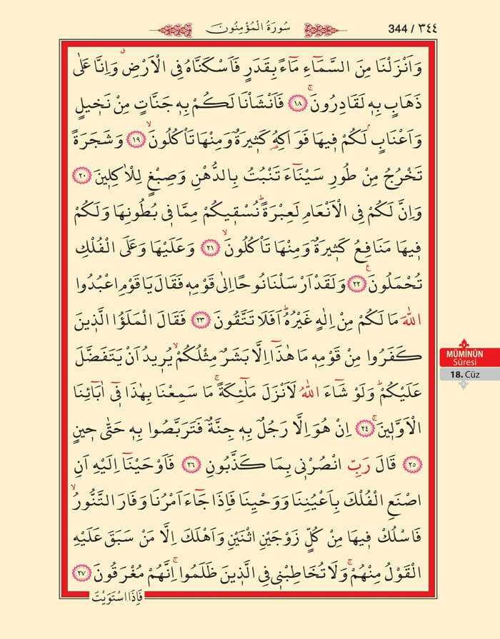 Müminun Suresi - 342.Sayfa - 18. Cüzün 1. Hizbi