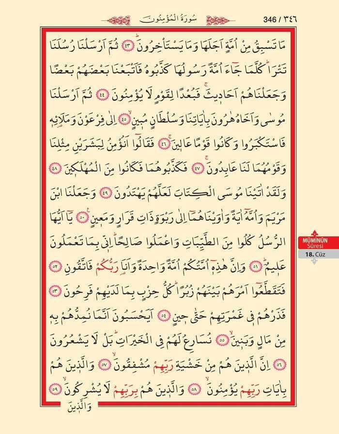 Müminun Suresi - 344.Sayfa - 18. Cüzün 1. Hizbi