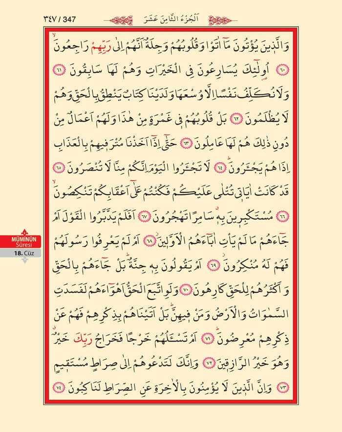 Müminun Suresi - 345.Sayfa - 18. Cüzün 1. Hizbi