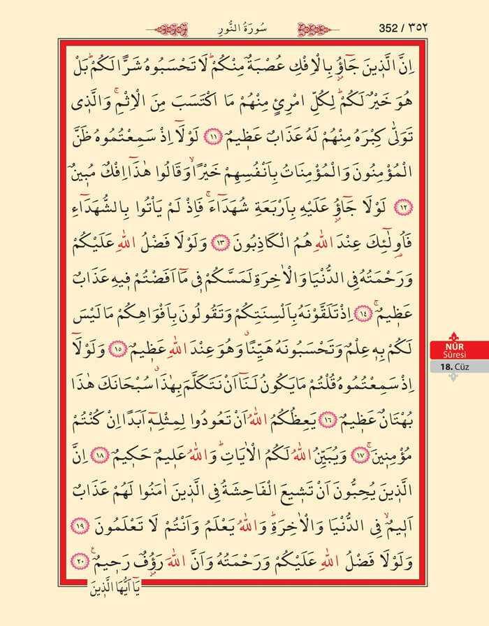 Nur Suresi - 350.Sayfa - 18. Cüzün 2. Hizbi