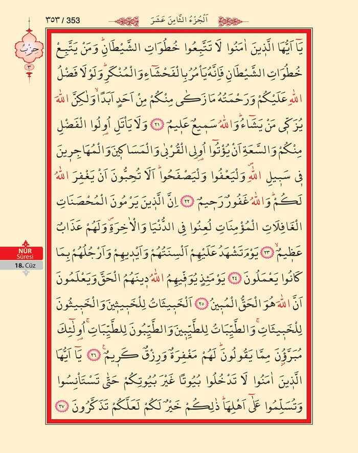 Nur Suresi - 351.Sayfa - 18. Cüzün 3. Hizbi