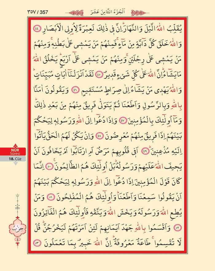 Nur Suresi - 355.Sayfa - 18. Cüzün 4. Hizbi