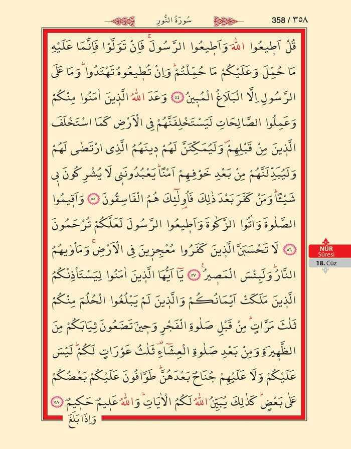 Nur Suresi - 356.Sayfa - 18. Cüzün 4. Hizbi