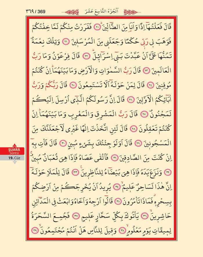 Şuara Suresi - 367.Sayfa - 19. Cüzün 2. Hizbi
