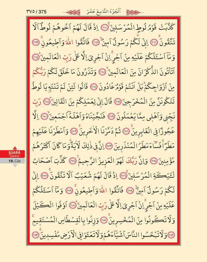 Şuara Suresi - 373.Sayfa - 19. Cüzün 3. Hizbi