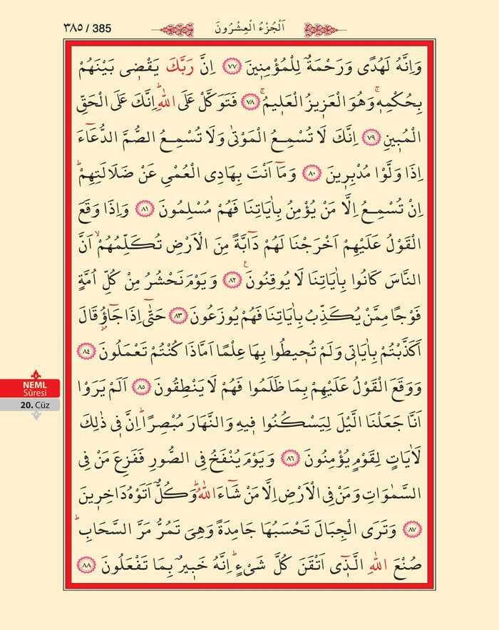Neml Suresi - 383.Sayfa - 20. Cüzün 1. Hizbi
