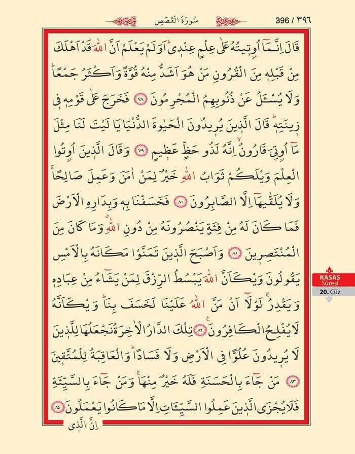 Kasas Suresi - 394.Sayfa - 20. Cüzün 3. Hizbi