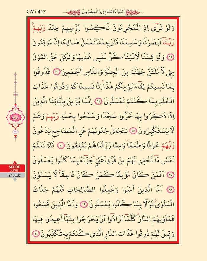 Secde Suresi - 415.Sayfa - 21. Cüzün 4. Hizbi