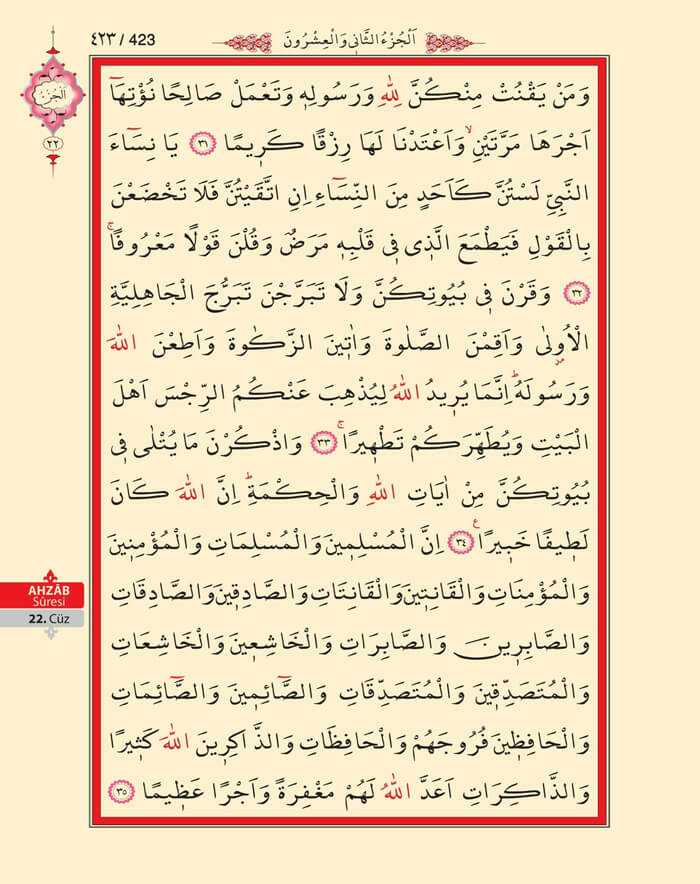 Ahzab Suresi - 421.Sayfa - 22. Cüzün 1. Hizbi