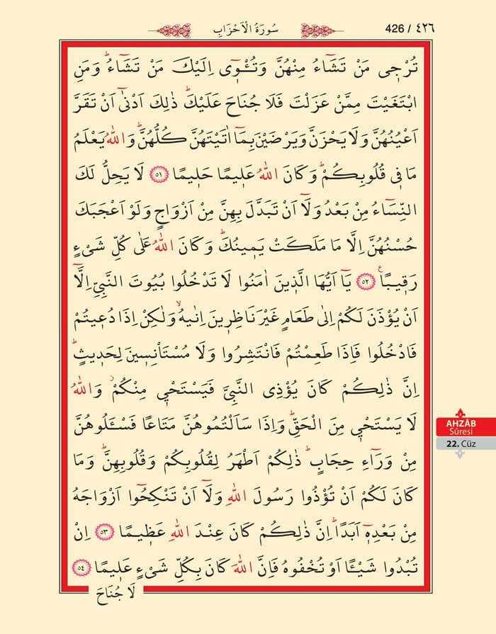 Ahzab Suresi - 424.Sayfa - 22. Cüzün 1. Hizbi