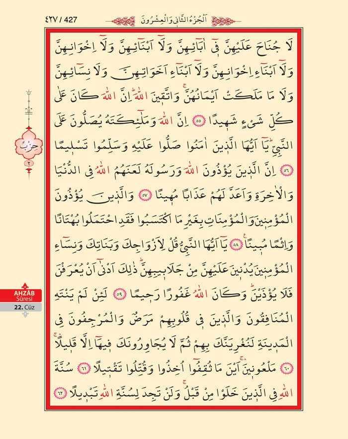 Ahzab Suresi - 425.Sayfa - 22. Cüzün 2. Hizbi