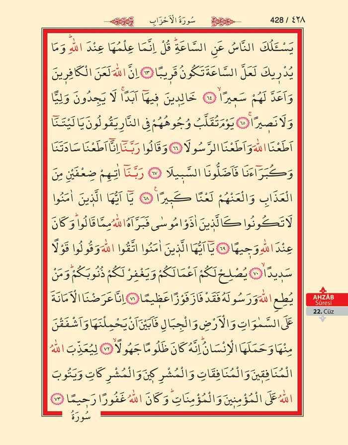 Ahzab Suresi - 426.Sayfa - 22. Cüzün 2. Hizbi