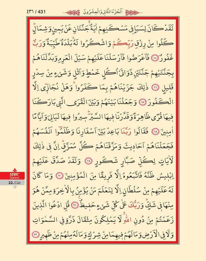 Sebe Suresi - 429.Sayfa - 22. Cüzün 2. Hizbi