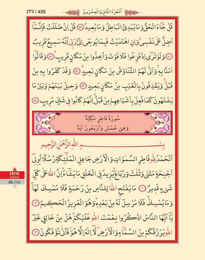 Sebe,Fatır Suresi - 433.Sayfa - 22. Cüzün 3. Hizbi