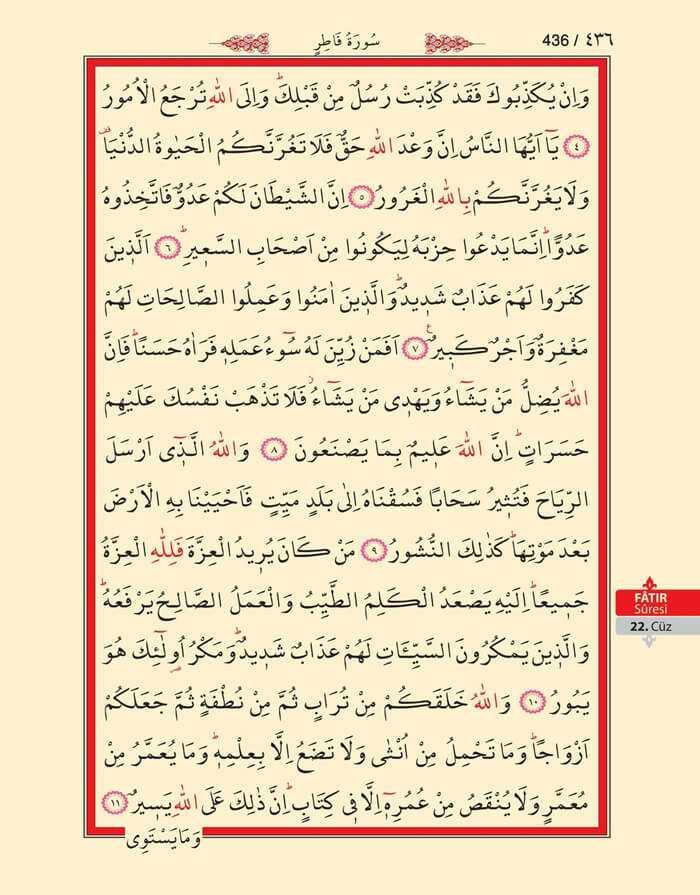 Fatır Suresi - 434.Sayfa - 22. Cüzün 3. Hizbi