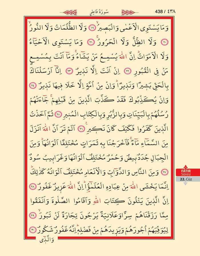 Fatır Suresi - 436.Sayfa - 22. Cüzün 4. Hizbi