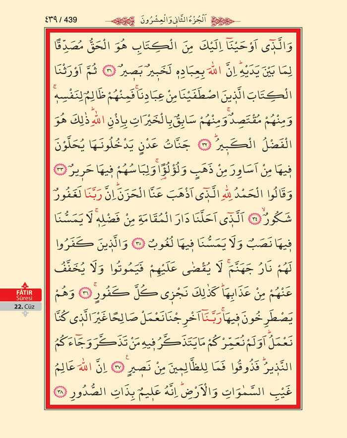 Fatır Suresi - 437.Sayfa - 22. Cüzün 4. Hizbi