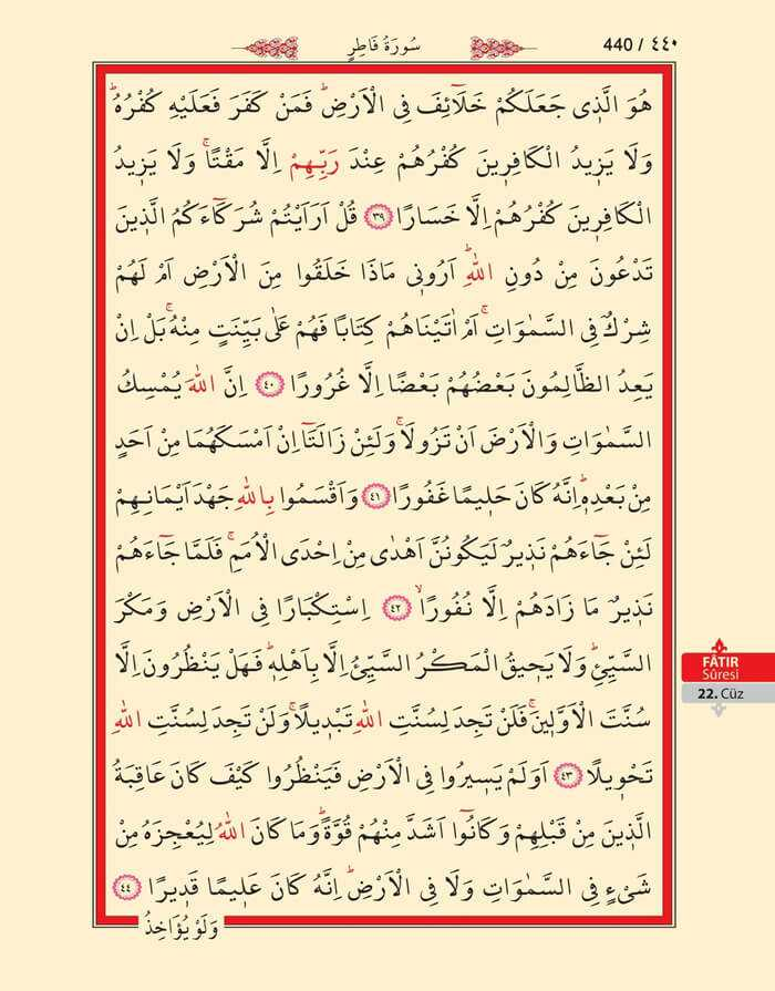 Fatır Suresi - 438.Sayfa - 22. Cüzün 4. Hizbi
