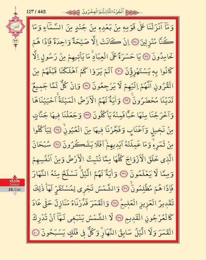 Yasin Suresi - 441.Sayfa - 23. Cüzün 1. Hizbi