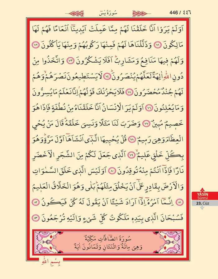 Yasin Suresi - 444.Sayfa - 23. Cüzün 1. Hizbi
