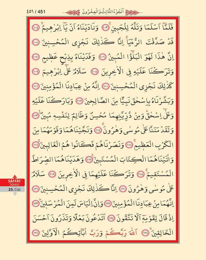 Saffat Suresi - 449.Sayfa - 23. Cüzün 2. Hizbi