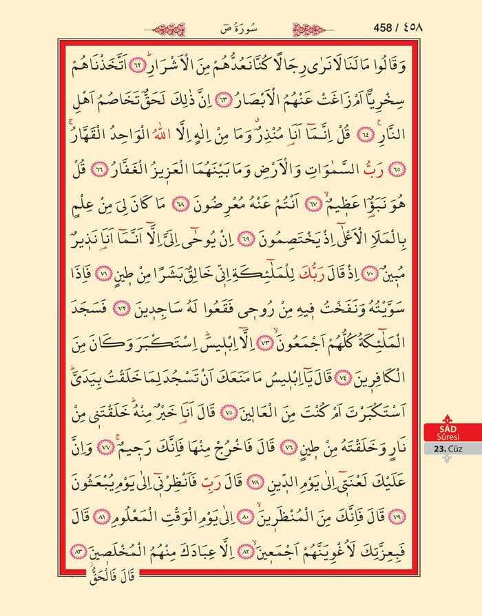 Sad Suresi - 456.Sayfa - 23. Cüzün 4. Hizbi
