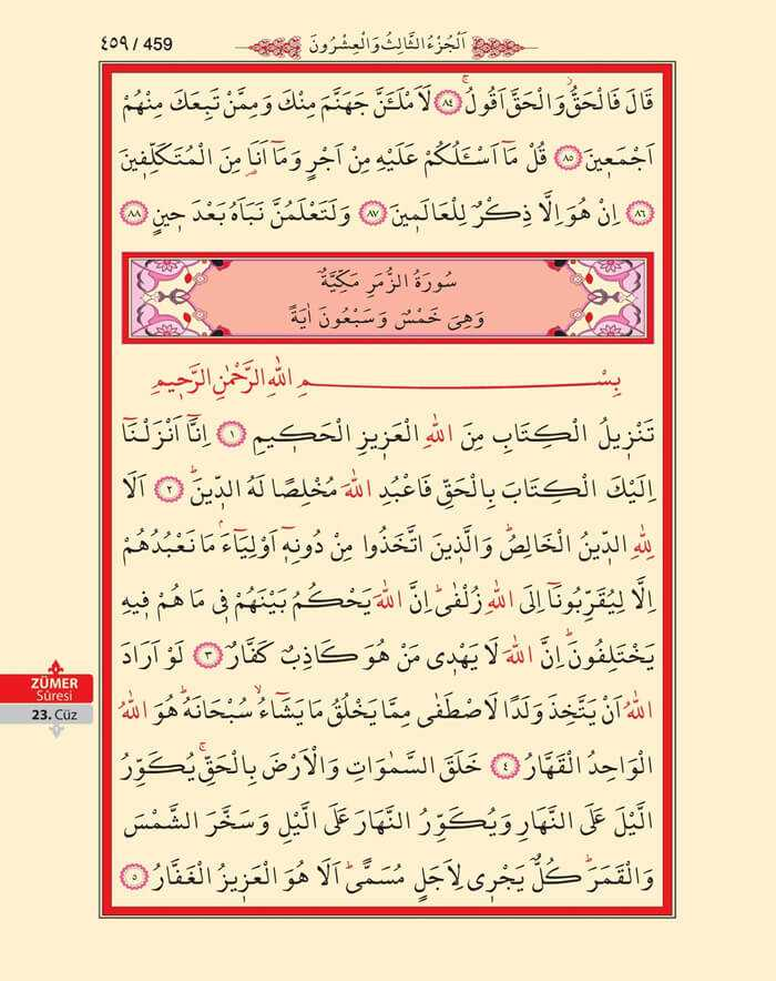 Zumer Suresi - 457.Sayfa - 23. Cüzün 4. Hizbi