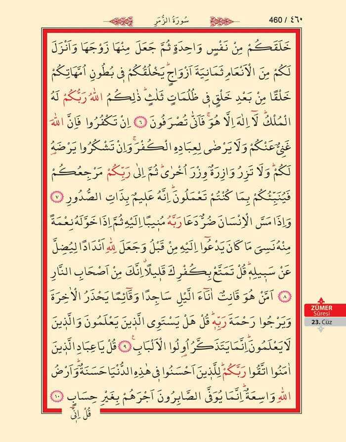 Zumer Suresi - 458.Sayfa - 23. Cüzün 4. Hizbi