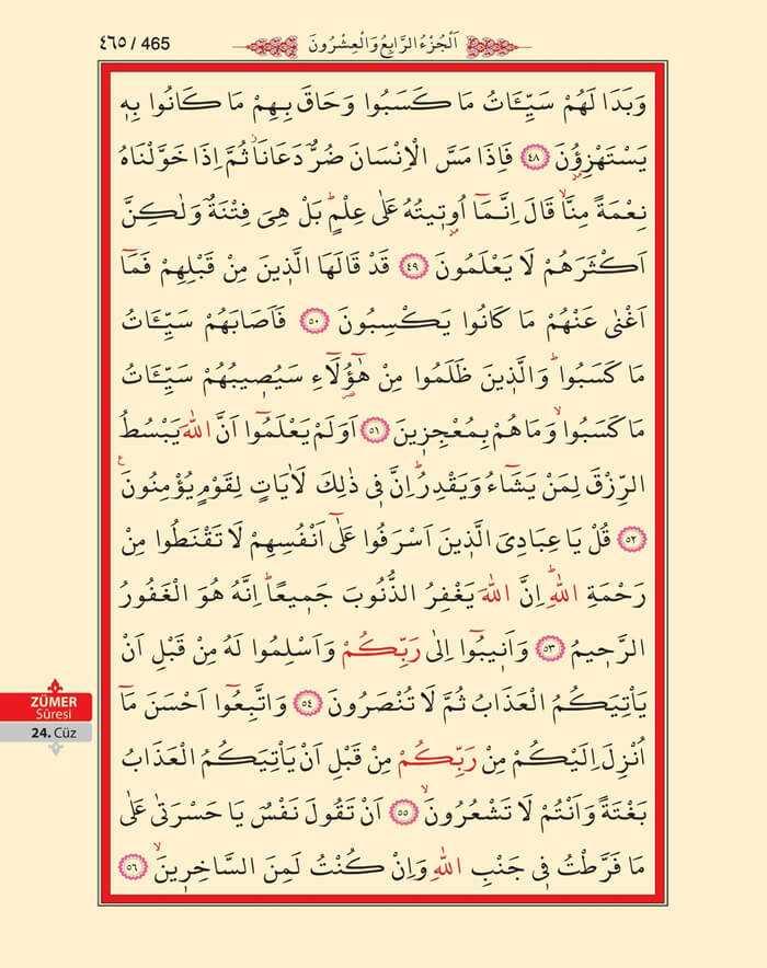 Zumer Suresi - 463.Sayfa - 24. Cüzün 1. Hizbi