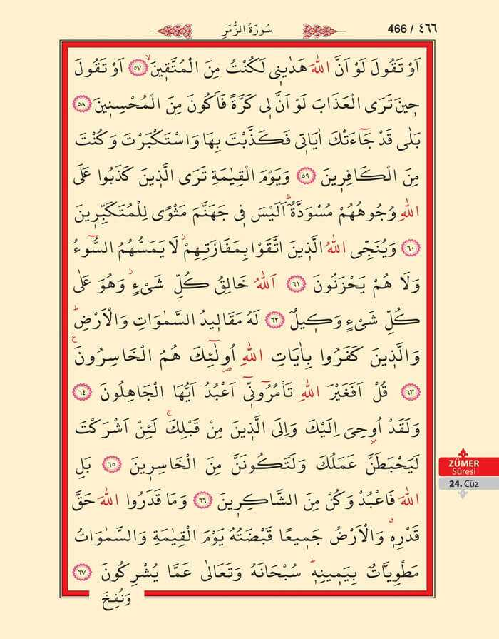 Zumer Suresi - 464.Sayfa - 24. Cüzün 1. Hizbi