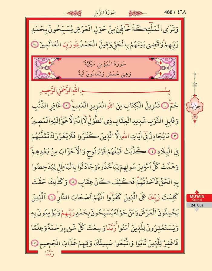 Mumin Suresi - 466.Sayfa - 24. Cüzün 2. Hizbi