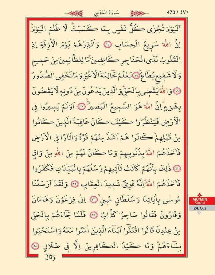Mumin Suresi - 468.Sayfa - 24. Cüzün 2. Hizbi