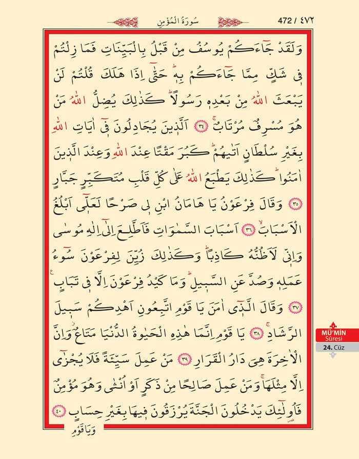 Mumin Suresi - 470.Sayfa - 24. Cüzün 2. Hizbi