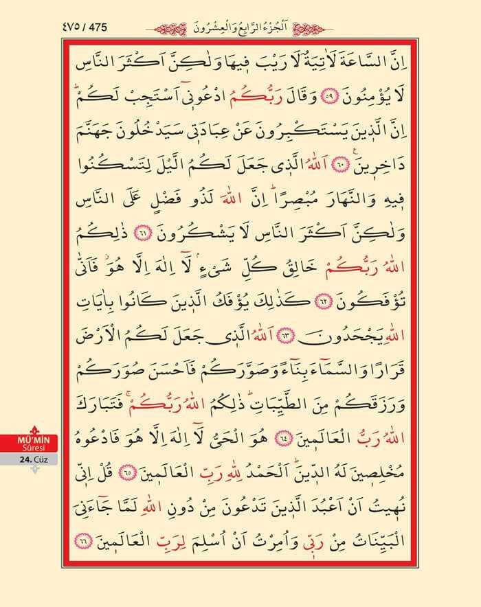 Mumin Suresi - 473.Sayfa - 24. Cüzün 3. Hizbi