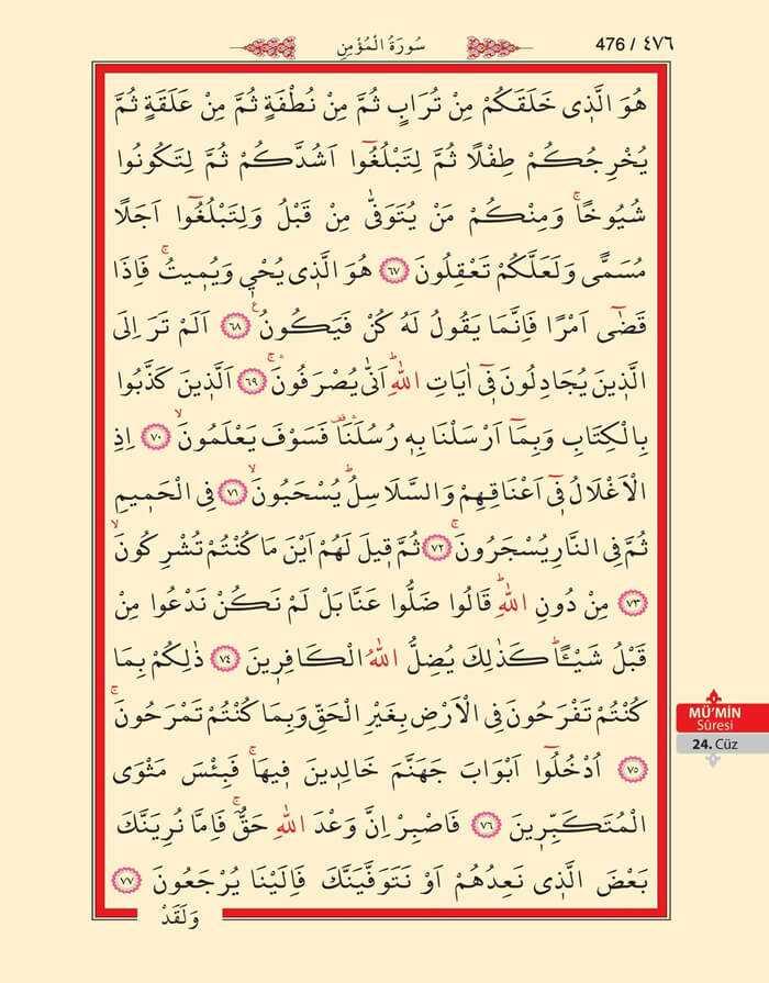 Mumin Suresi - 474.Sayfa - 24. Cüzün 3. Hizbi