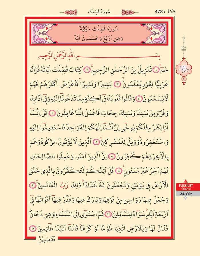 Fussilet Suresi - 476.Sayfa - 24. Cüzün 4. Hizbi