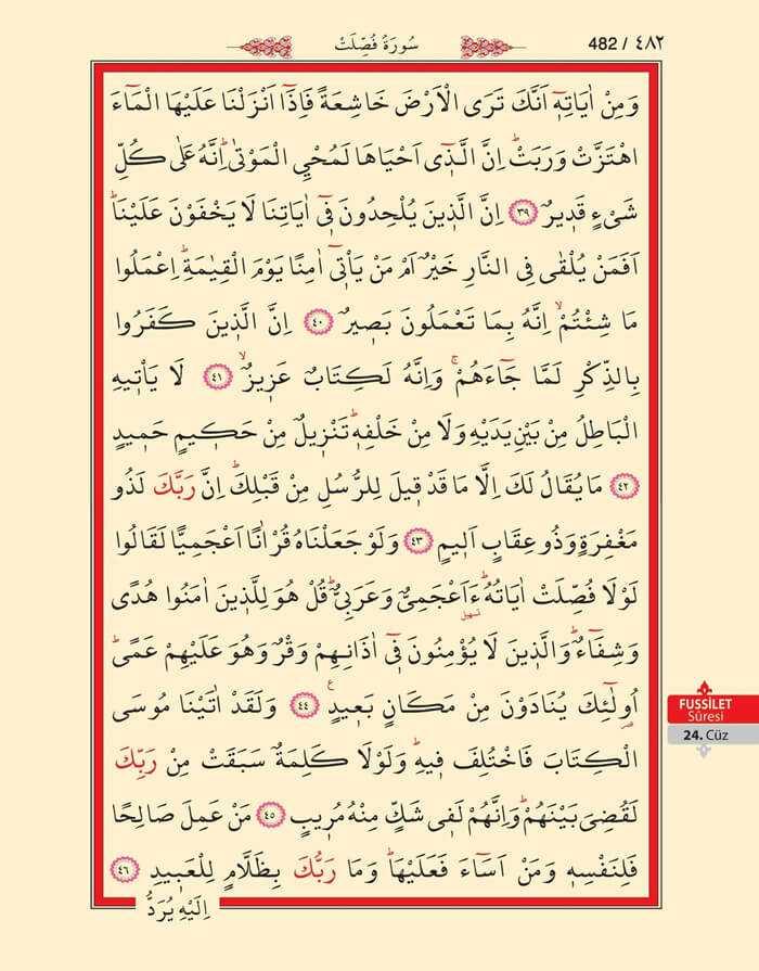 Fussilet Suresi - 480.Sayfa - 24. Cüzün 4. Hizbi
