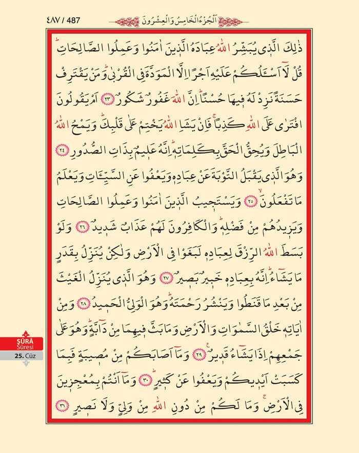 Şura Suresi - 485.Sayfa - 25. Cüzün 1. Hizbi