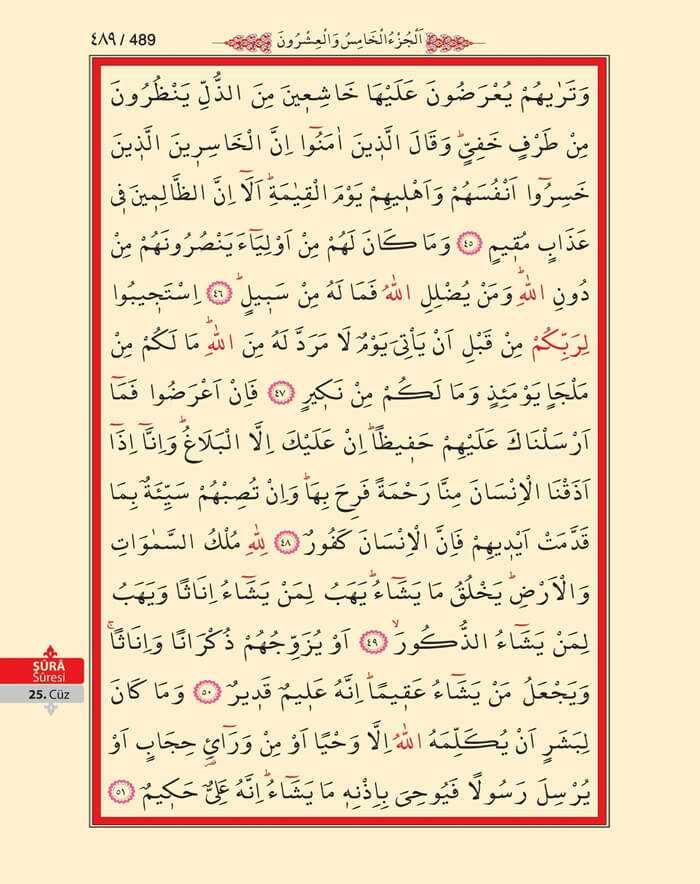 Şura Suresi - 487.Sayfa - 25. Cüzün 2. Hizbi