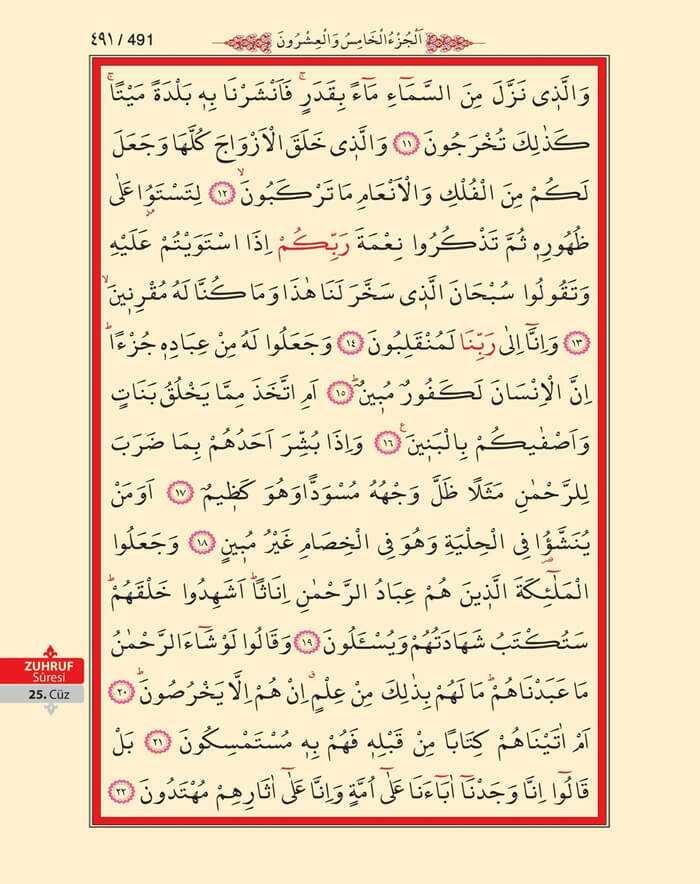 Zuhruf Suresi - 489.Sayfa - 25. Cüzün 2. Hizbi