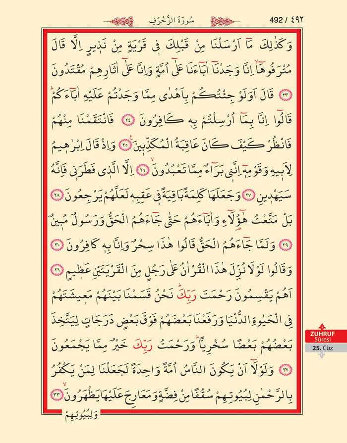 Zuhruf Suresi - 490.Sayfa - 25. Cüzün 2. Hizbi