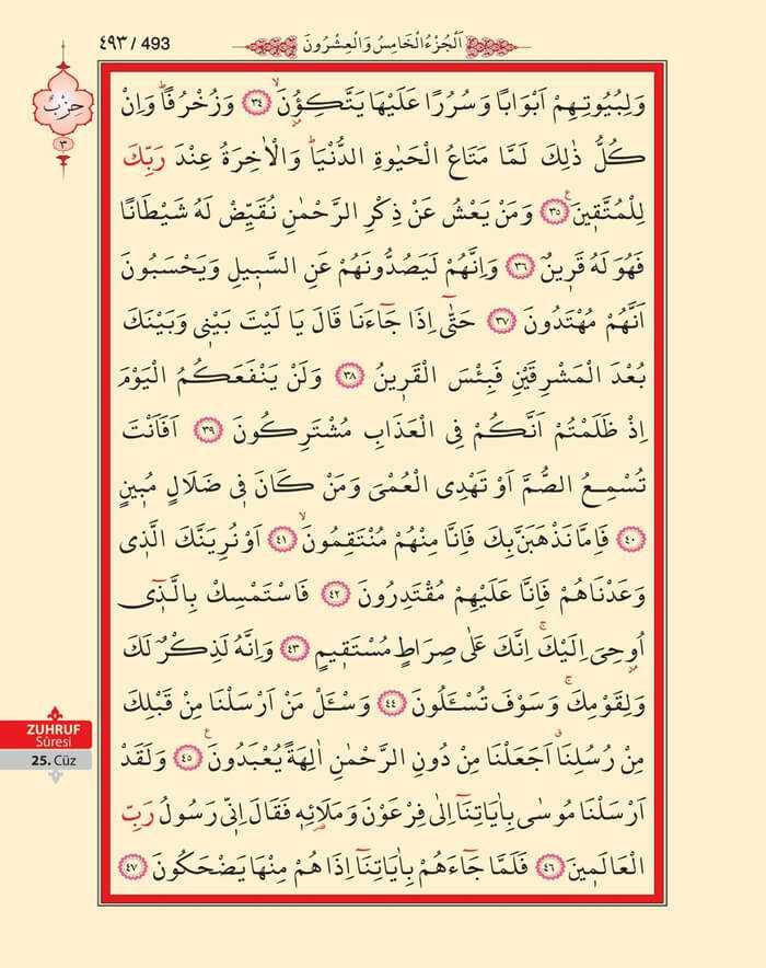 Zuhruf Suresi - 491.Sayfa - 25. Cüzün 3. Hizbi