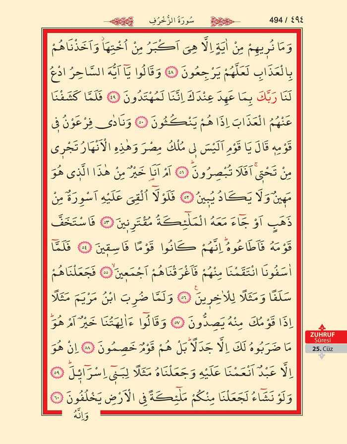 Zuhruf Suresi - 492.Sayfa - 25. Cüzün 3. Hizbi