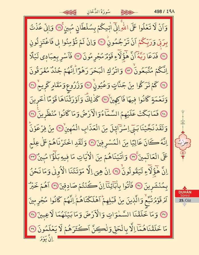Duhan Suresi - 496.Sayfa - 25. Cüzün 4. Hizbi