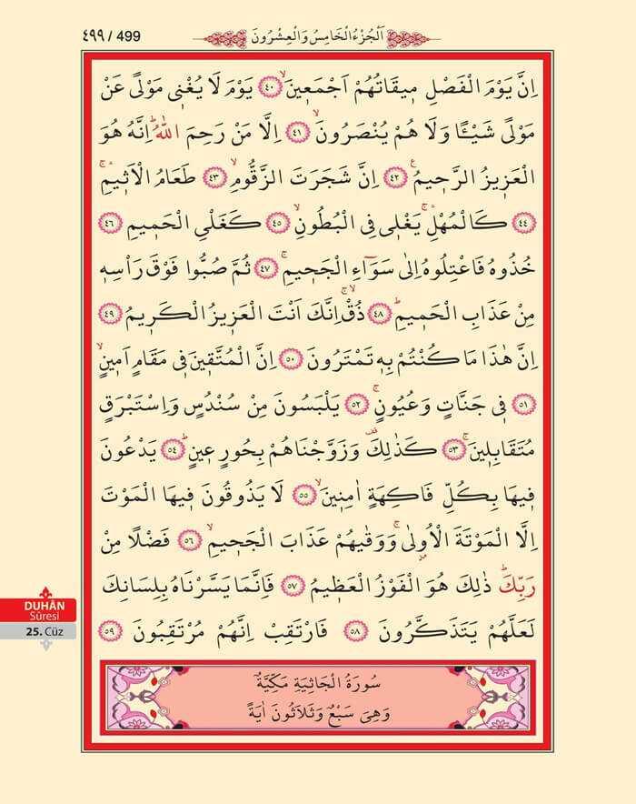Duhan Suresi - 497.Sayfa - 25. Cüzün 4. Hizbi